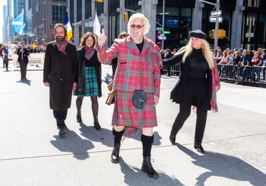Sir Billy Connoly marching at NYC's Tartan Day Parade
