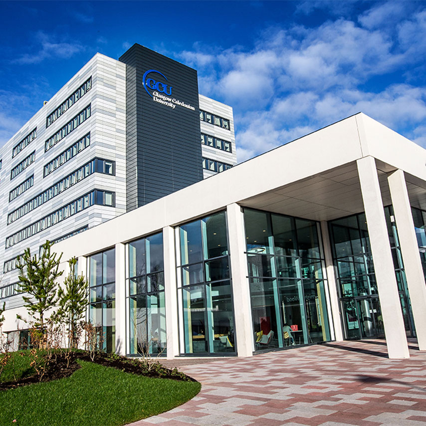 Image of the exterior of the Glasgow Caledonian University campus.