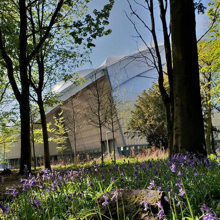 Image of Heriot-Watt University in the surrounding parkland.