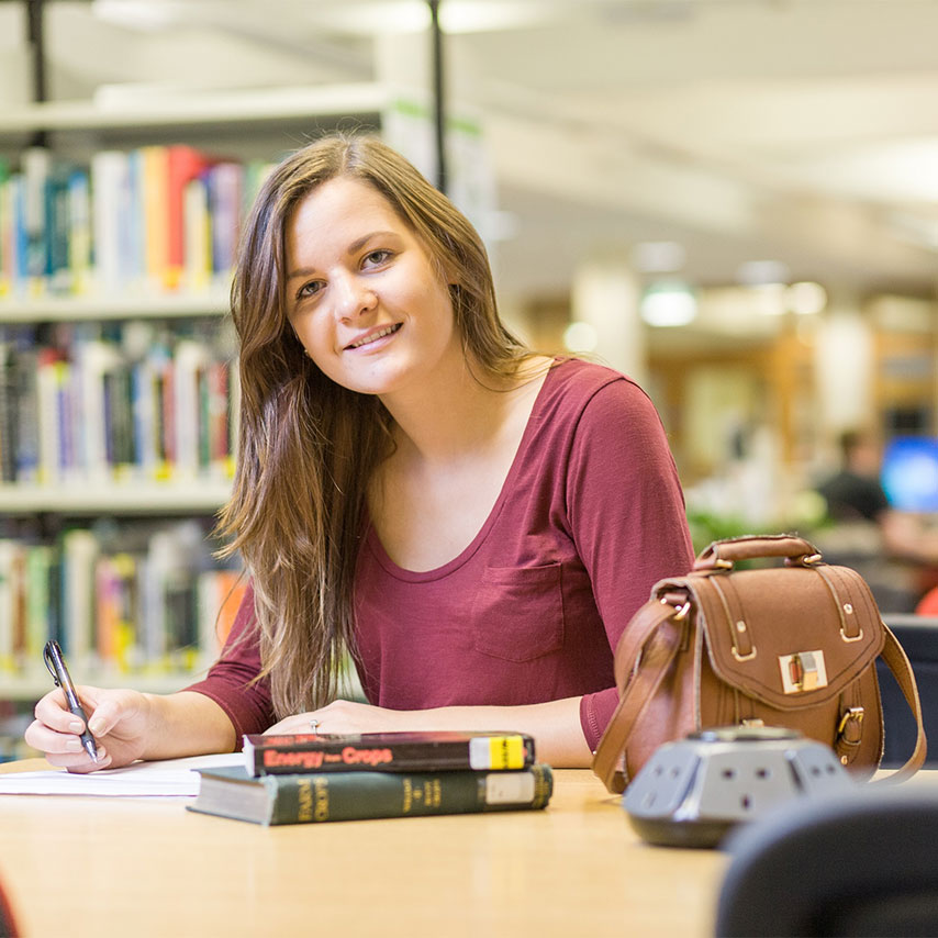 Image of a student studying at Scotland's Rural College.