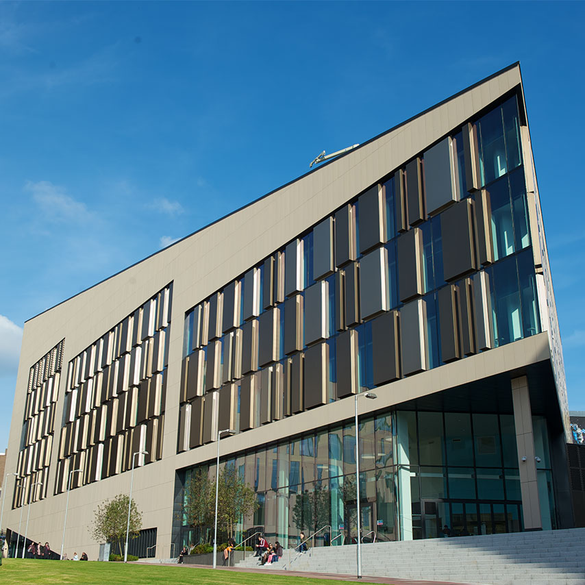 Image of the outside of the University of Strathclyde campus.